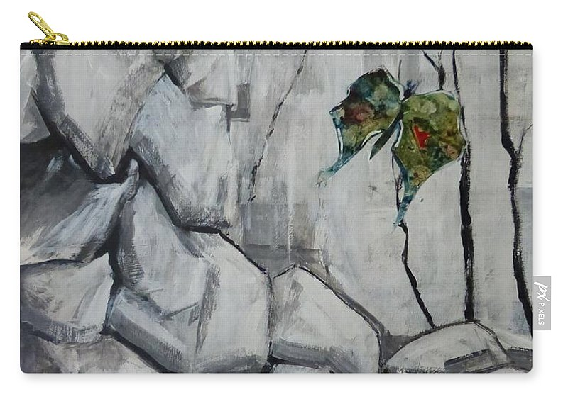 Acrylic Collage Abstract Carry-all Pouch featuring the painting Bear Peak Giant by Monique Gray