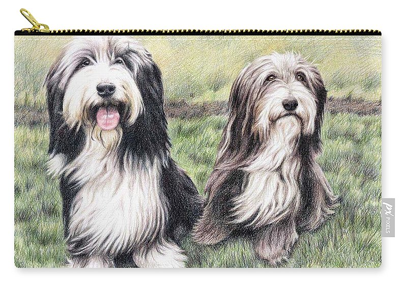 Dogs Carry-all Pouch featuring the drawing Bearded Collies by Nicole Zeug
