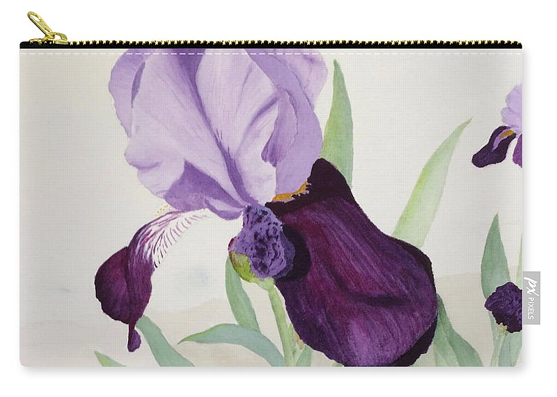 Iris Carry-all Pouch featuring the painting Bearded Iris by Bonnie Young