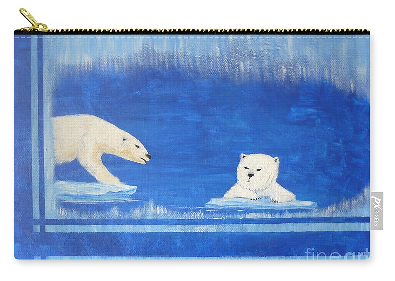 Polar Bear Carry-all Pouch featuring the painting Bears In Global Warming by Monika Shepherdson