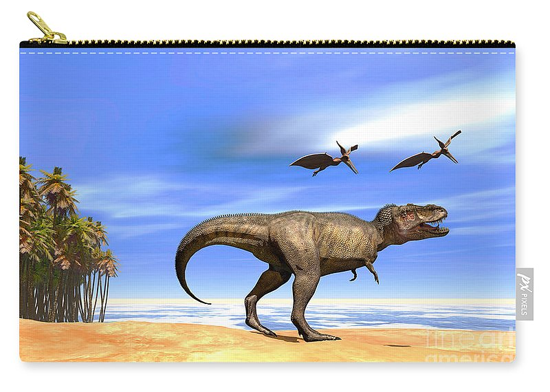 Tyrannosaurus Rex Carry-all Pouch featuring the painting Beast by Corey Ford