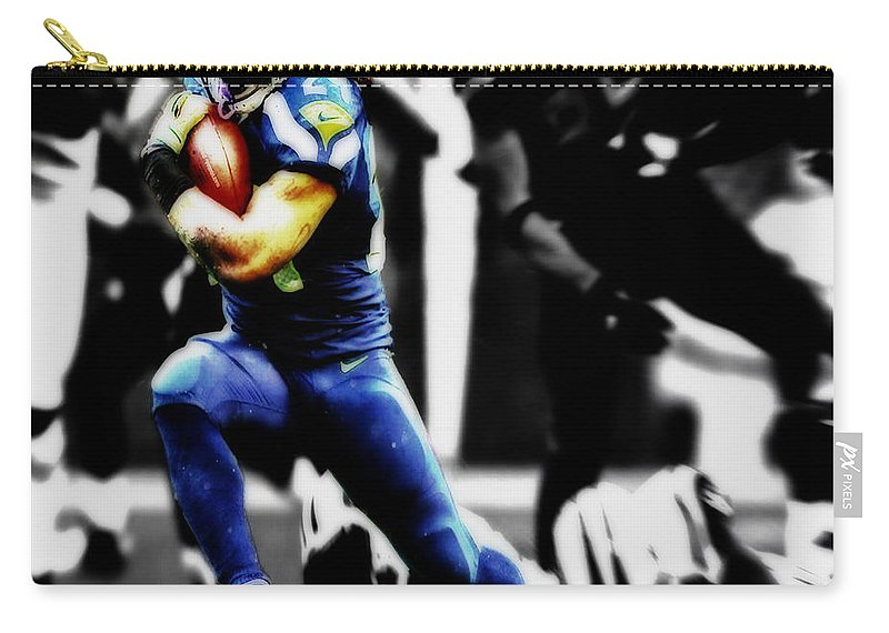 Marshawn Lynch Carry-all Pouch featuring the digital art Beast Mode In Warp Speed by Brian Reaves