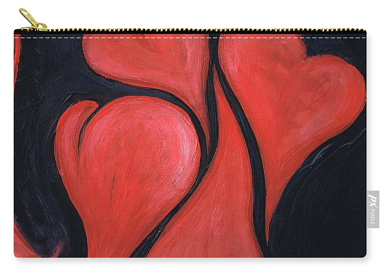 Hearts Carry-all Pouch featuring the painting Beating Hearts by Nancy Mueller