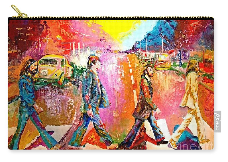 Impressionistice Version Carry-all Pouch featuring the painting Beatles Abbey Road by Leland Castro