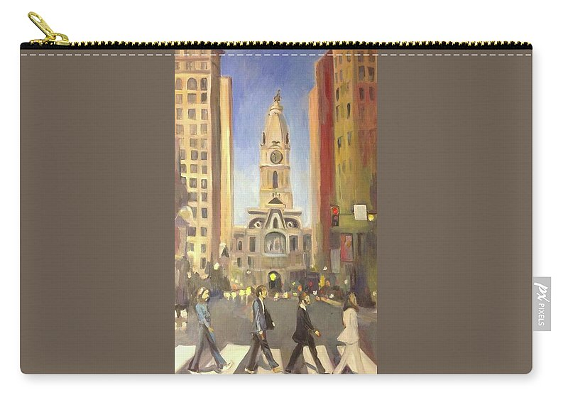 Oil Paintings Of Beatles On Broad Street Carry-all Pouch featuring the painting Beatles by Judith McCabe Jarvis