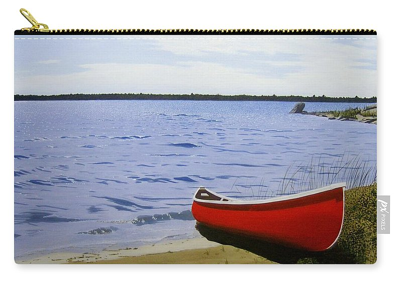 Landscpaes Carry-all Pouch featuring the painting Beaultiful Red Canoe by Kenneth M Kirsch