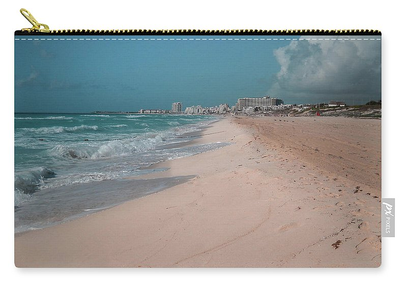 Beach Carry-all Pouch featuring the digital art Beautiful Beach In Cancun, Mexico by Nicolas Gabriel Gonzalez