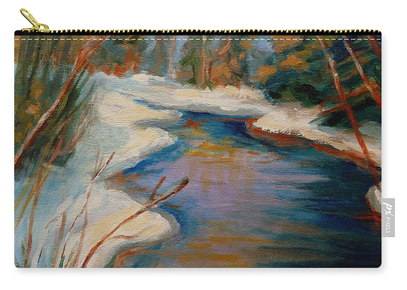 Beautiful Brook In Winter Carry-all Pouch featuring the painting Beautiful Brook In Winter by Carole Spandau