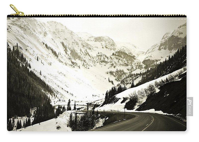 Mountains Carry-all Pouch featuring the photograph Beautiful Curving Drive Through The Mountains by Marilyn Hunt