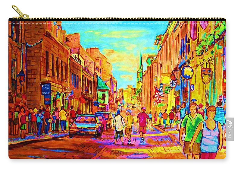 Old Montreal Carry-all Pouch featuring the painting Beautiful Day In The City by Carole Spandau