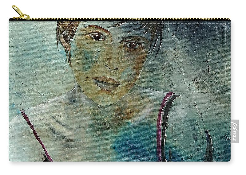 Girl Carry-all Pouch featuring the painting Beautiful Face by Pol Ledent