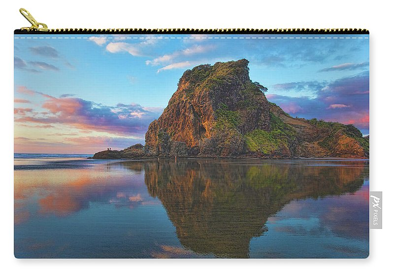 Lion's Rock Carry-all Pouch featuring the photograph Beautiful Lion by Photopoint Art