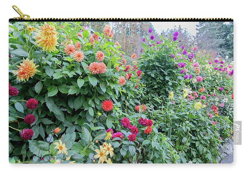Outdoor Carry-all Pouch featuring the photograph Beautiful Lot Of Dahlias,butchart Gardens,victoria,canada by Andrew Kim