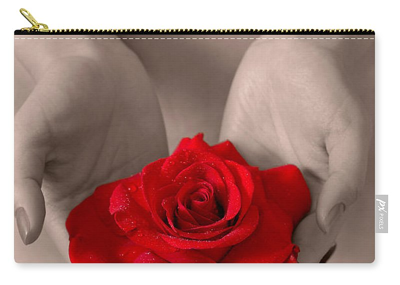 Woman Carry-all Pouch featuring the photograph Beautiful Nude Woman Holidng Red Rose by Oleksiy Maksymenko