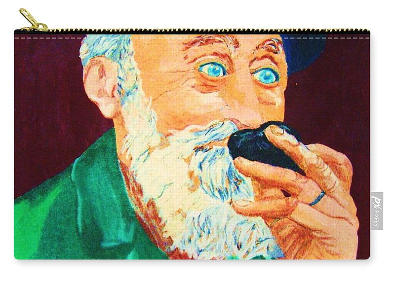 Portraits Carry-all Pouch featuring the painting Beautiful Old Blue Eyes by Carole Spandau