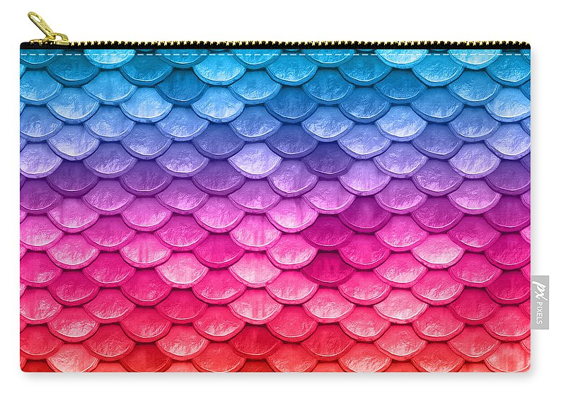 Beach House Carry-all Pouch featuring the painting Beautiful Pastel Horizontal Rainbow Mermaid Fish Scales by Tina Lavoie