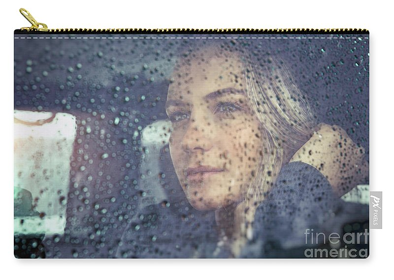 Adult Carry-all Pouch featuring the photograph Beautiful Sad Woman In The Car by Anna Om