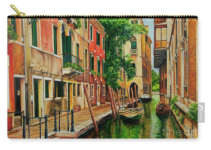 Venice Canal Carry-all Pouch featuring the painting Beautiful Side Canal In Venice by Charlotte Blanchard