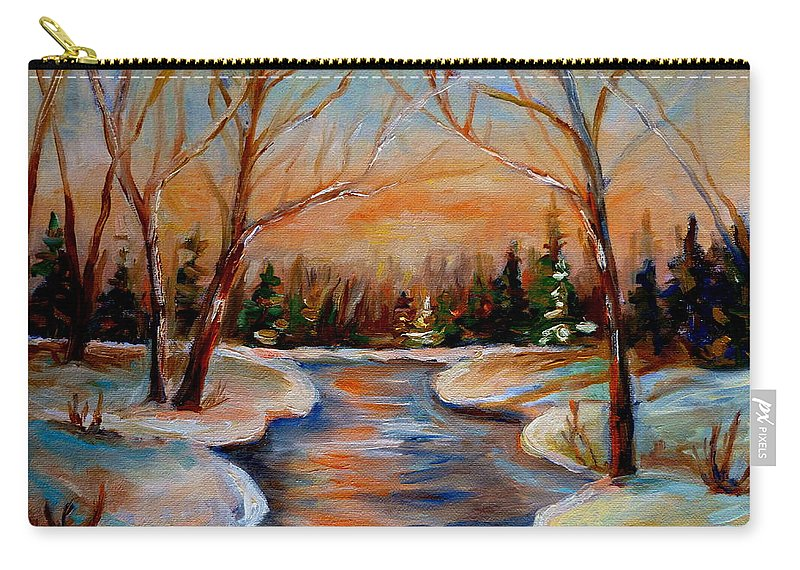 Carry-all Pouch featuring the painting Beautiful Spring Thaw by Carole Spandau