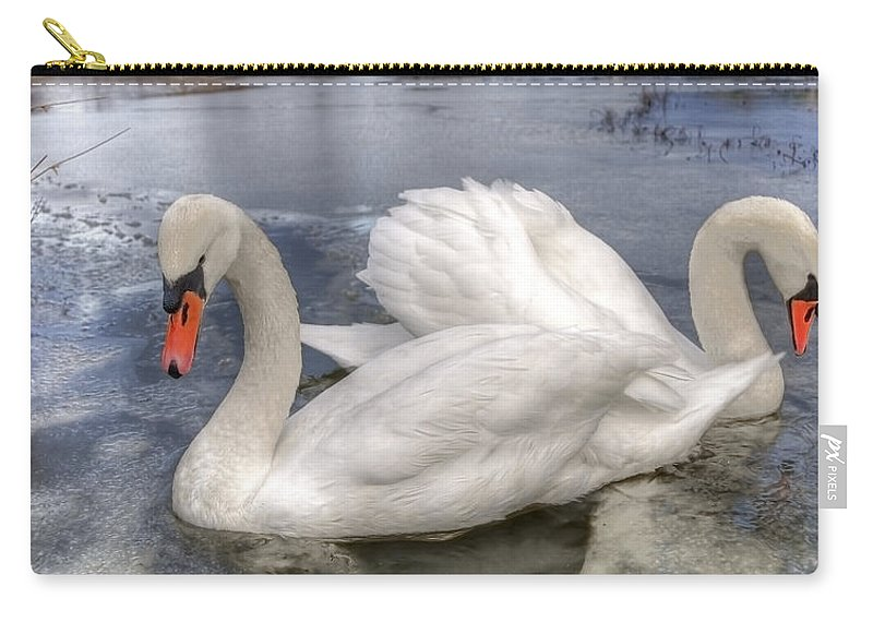 Swan Carry-all Pouch featuring the photograph Beautiful Swans by Svetlana Sewell