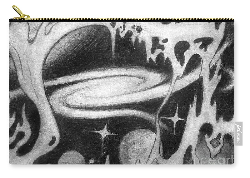Space Carry-all Pouch featuring the drawing Beautiful Universe 2. Space Art by Sofia Metal Queen