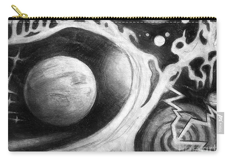 Space Carry-all Pouch featuring the drawing Beautiful Universe. Space Art by Sofia Metal Queen