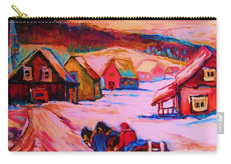 Winterscene Carry-all Pouch featuring the painting Beautiful Village Ride by Carole Spandau
