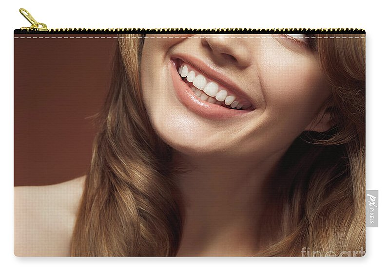 Beauty Carry-all Pouch featuring the photograph Beautiful Young Smiling Woman by Oleksiy Maksymenko