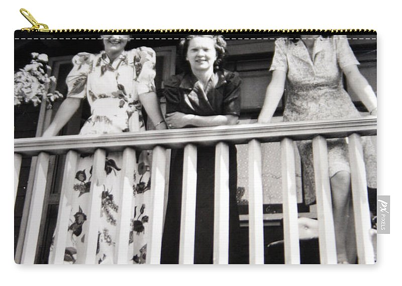 Ladies Women 1950s Classic Black And White Photography Carry-all Pouch featuring the photograph Beauty And Balconies by Andrea Lawrence