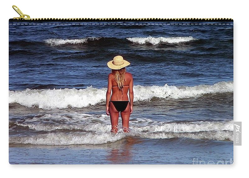Blonde Carry-all Pouch featuring the photograph Beauty And The Beach by Al Powell Photography USA