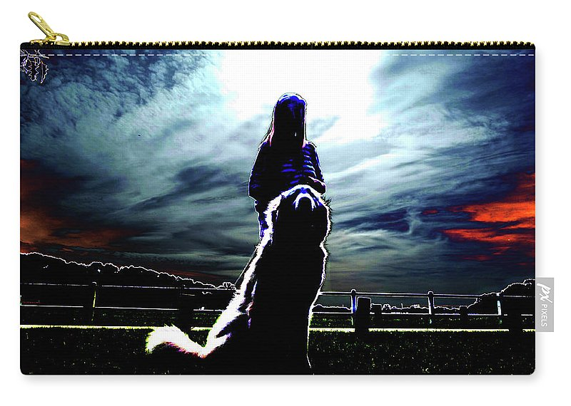 Woman Carry-all Pouch featuring the digital art Beauty And The Beast by Marc Dettloff