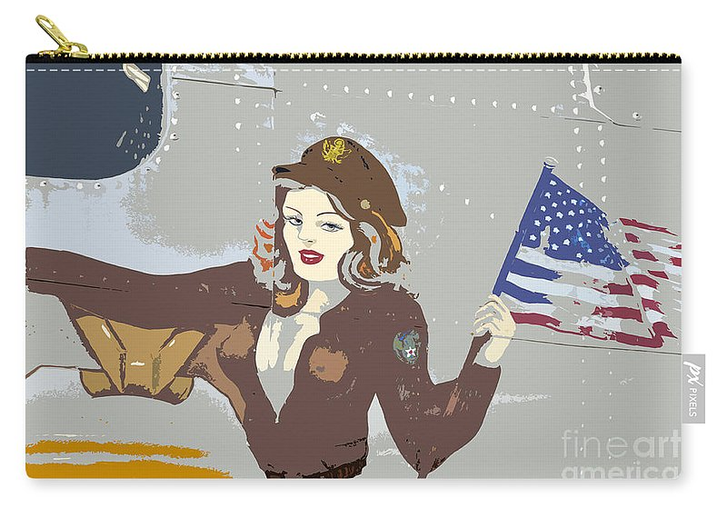 Flag Carry-all Pouch featuring the painting Beauty And The Flag by David Lee Thompson