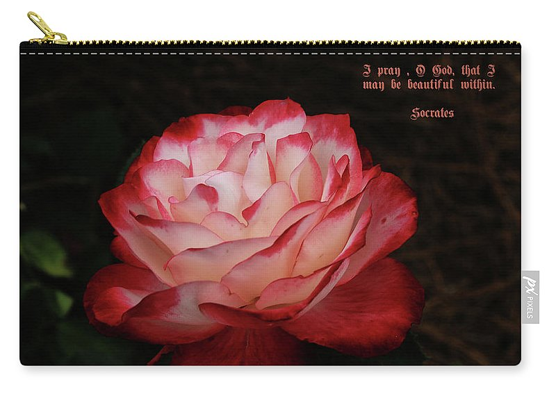 Rose With Saying Carry-all Pouch featuring the photograph Beauty by Dennis Baswell