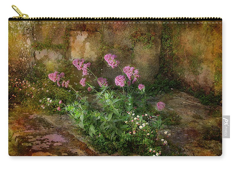 Stone Carry-all Pouch featuring the photograph Beauty On An Old Stone Wall by Carla Parris