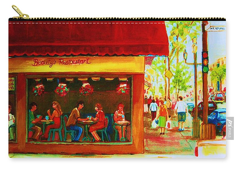 Beautys Cafe Abd Luncheonette Carry-all Pouch featuring the painting Beautys Cafe With Red Awning by Carole Spandau