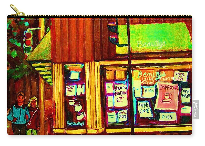 Beautys Restaurant Carry-all Pouch featuring the painting Beautys Famous Mishmash by Carole Spandau