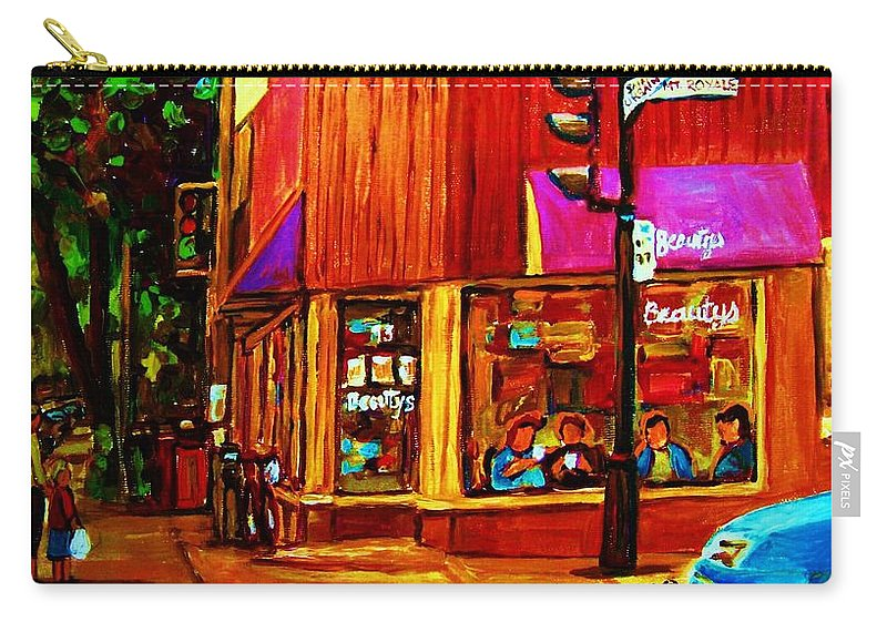 Beautys Restaurant Montreal Carry-all Pouch featuring the painting Beautys Luncheonette by Carole Spandau