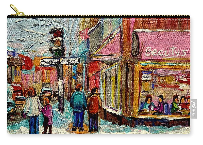 Beautys Luncheonette Montreal Carry-all Pouch featuring the painting Beautys Luncheonette Montreal by Carole Spandau