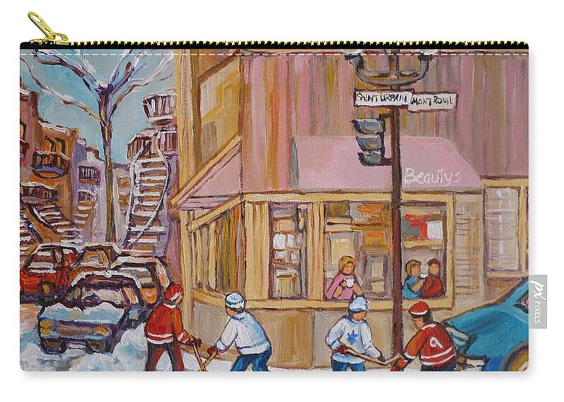 Beautys Deli Carry-all Pouch featuring the painting Beautys Restaurant by Carole Spandau