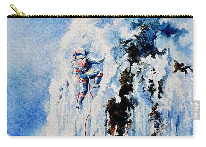 Ice Climbing Carry-all Pouch featuring the painting Because It's There by Hanne Lore Koehler