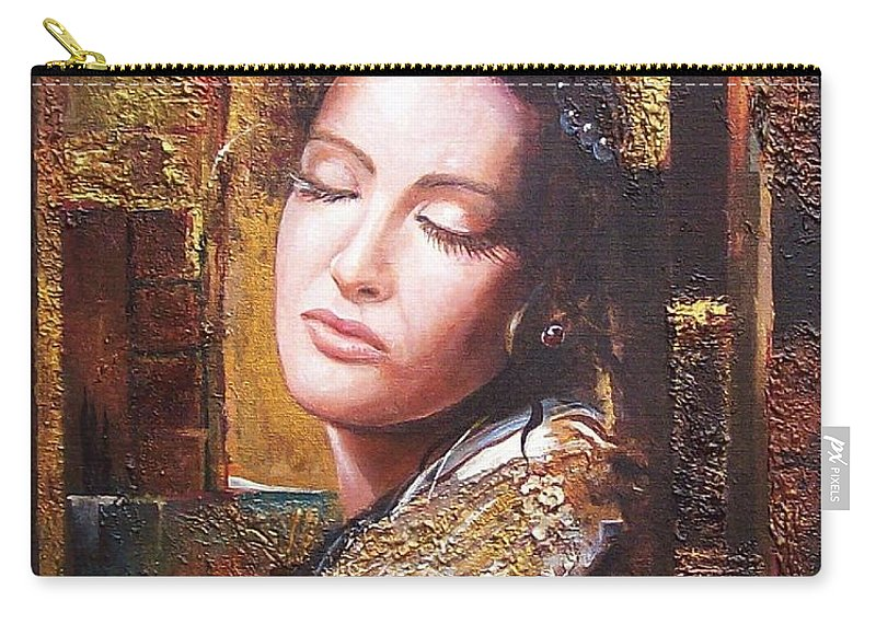 Female Portrait Carry-all Pouch featuring the painting Because You Are Beautiful by Sinisa Saratlic