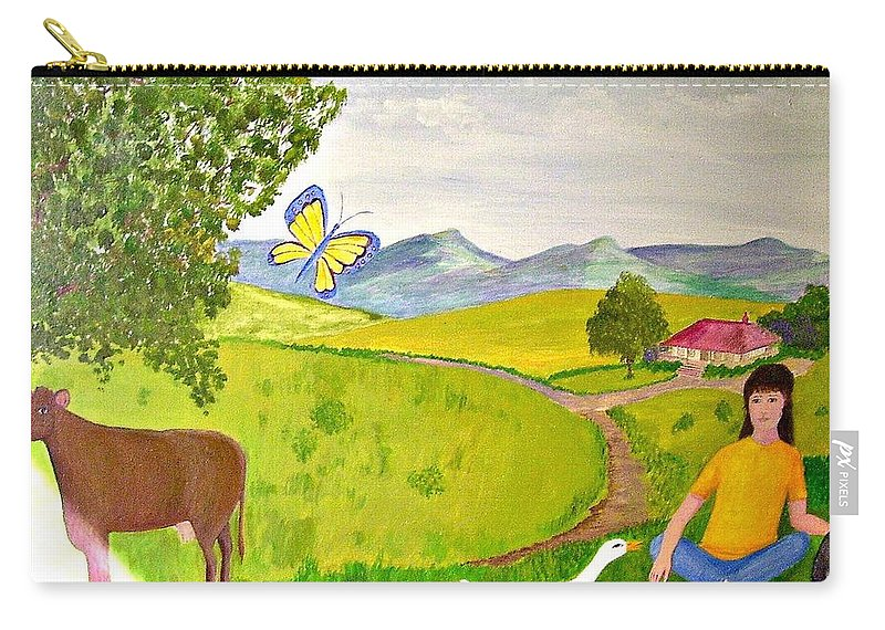 Naive Carry-all Pouch featuring the painting Becky And The Butterfly by Fran Caldwell