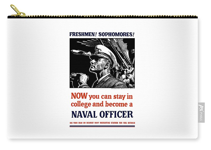 Navy Carry-all Pouch featuring the mixed media Become A Naval Officer by War Is Hell Store