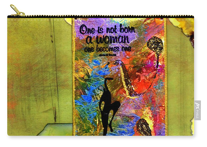 Wood Carry-all Pouch featuring the mixed media Becoming A Woman by Angela L Walker