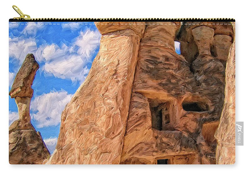 Bedrock Estates Carry-all Pouch featuring the painting Bedrock Estates by Dominic Piperata
