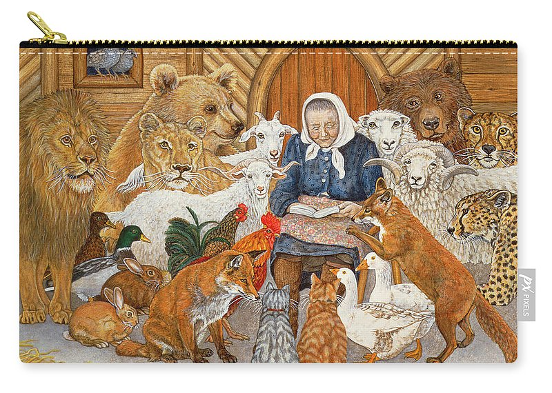 Old Woman Carry-all Pouch featuring the painting Bedtime Story On The Ark by Ditz