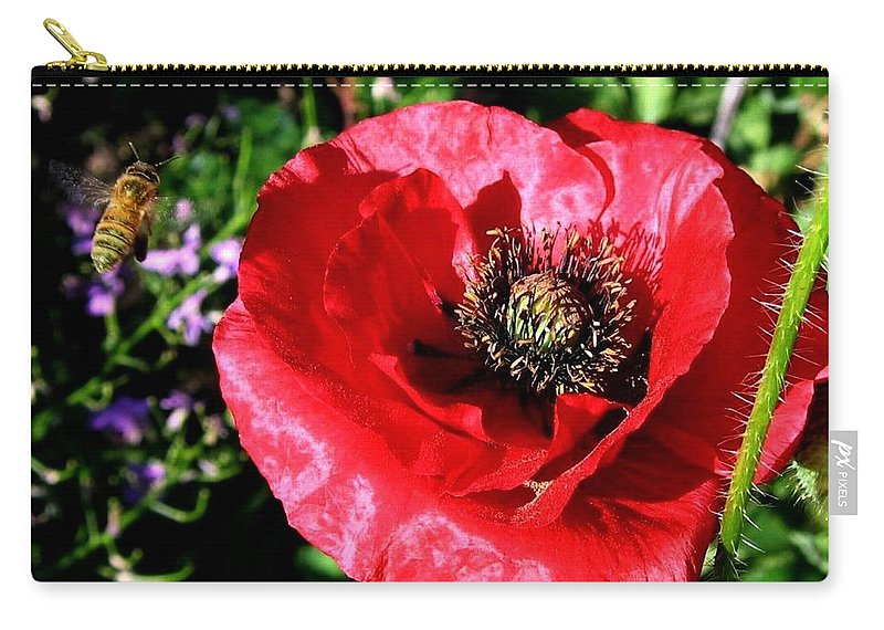 Bee Carry-all Pouch featuring the photograph Bee And Red Poppy by Will Borden