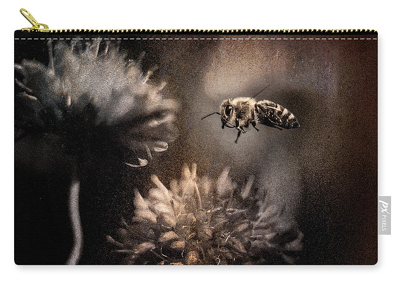 Alpine Meadow Life Carry-all Pouch featuring the photograph Bee Approaching Red Clover Blossom by Peter v Quenter
