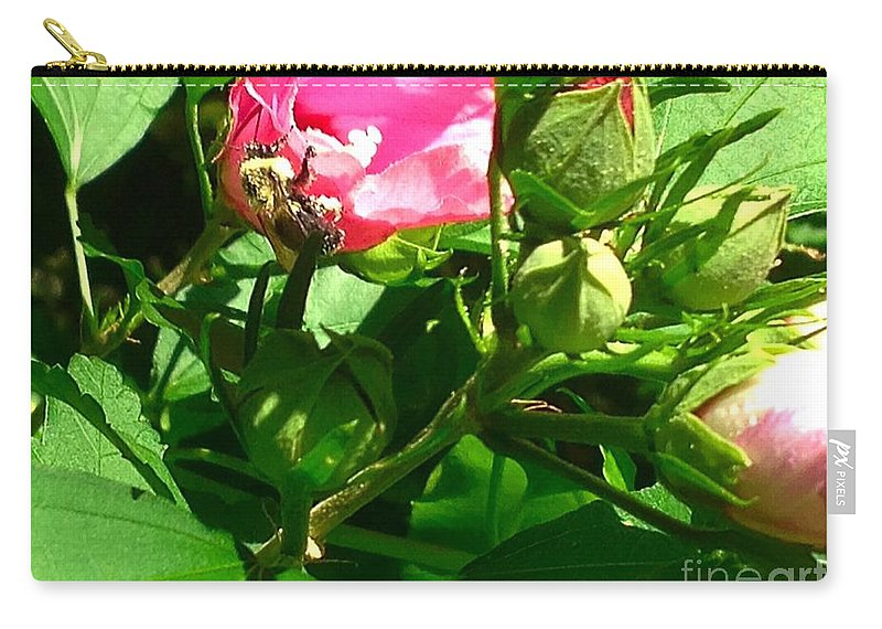 Flower Carry-all Pouch featuring the photograph Bee Careful by Debra Lynch