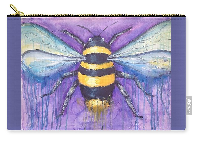 Bee Carry-all Pouch featuring the painting Bee For A Little Bee by Kelly Margo